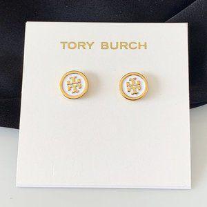 Tory Burch Logo Gold White Earrings